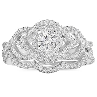 10K White Gold 1 ct TDW Diamond Intertwined Engagement Matching Wedding Ring Set (I-J, I2-I3)