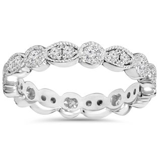 14K White Gold 1.00ct TDW Round Diamond Eternity Anniversary Stackable Wedding Ring (H-I, I1-I