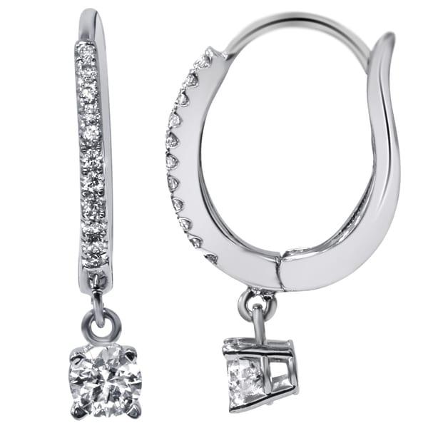 Bliss 18k White Gold 11/20ct TDW Pave Hood Dangle Lever Back Diamond Earrings (F-G, VVS1-VVS2)