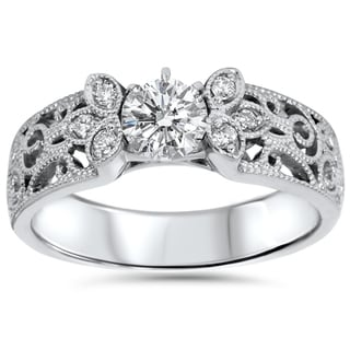Bliss 14k White Gold 1/2CT TDW 2mm Vintage Diamond Engagement Ring (I-J, I2-I3)