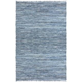 Blue Matador Leather & Denim Dhurry (10'x14') Rug - 10' x 14'