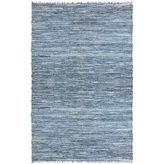 Blue Matador Leather & Denim Dhurry (10'x14') Rug
