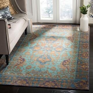 Safavieh Valencia Blue/ Gold Polyester Rug (9' x 12')