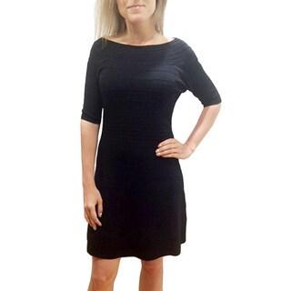 Bellario Women's Solid Black Sweater Dress