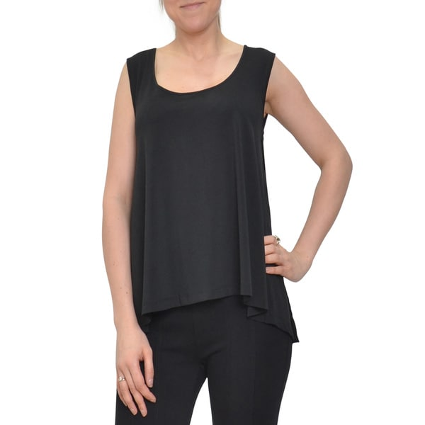 Bellario Women's Sleeveless Solid Black Tank-tunic