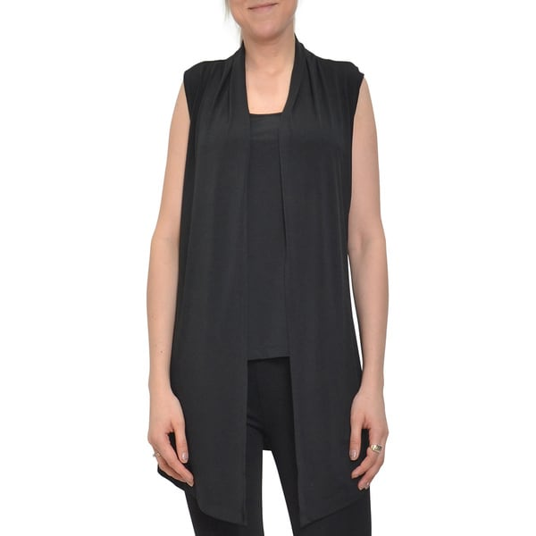 Bellario Women's Sleeveless Solid Black Vest