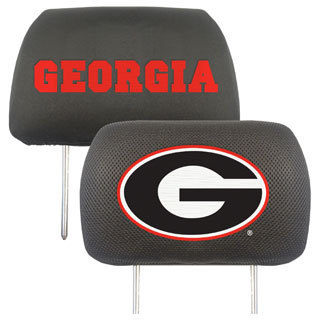 Fanmats Georgia Bulldogs Collegiate Charcoal Head Rest Covers Set of 2
