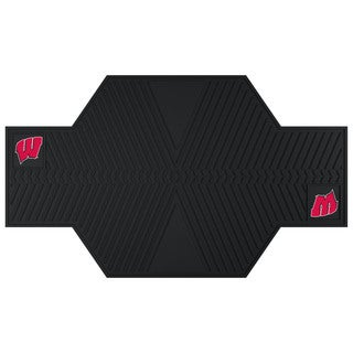Fanmats Wisconsin Badgers Black Rubber Motorcycle Mat