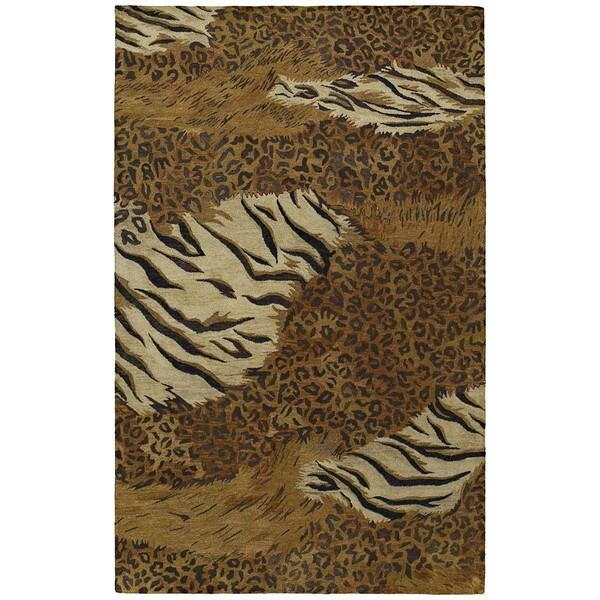 "Handmade Magi Sheeba Tiger Print Wool Rug (2'0"" x 3'0"")"