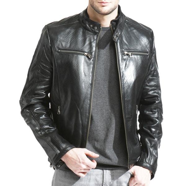 Men's Black Lambskin Leather Cafe Racer Jacket 15604355
