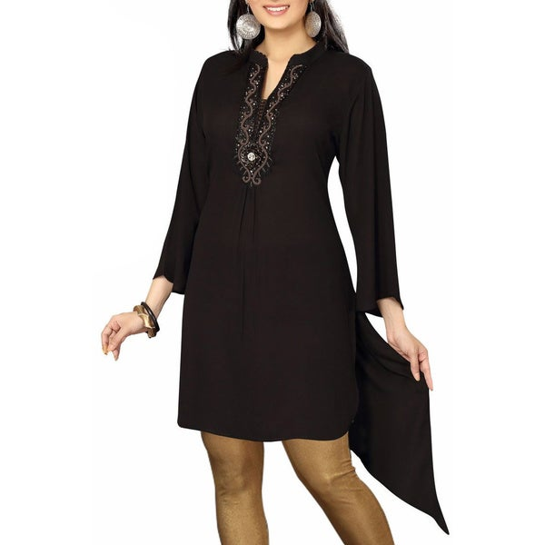 Black designer Kurti / tunic with beaded neckline (India)