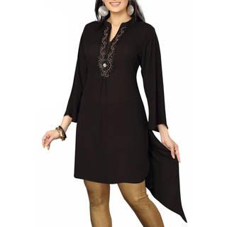 Black designer Kurti / tunic with beaded neckline (India)
