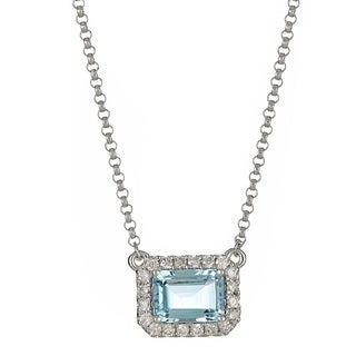 Anika and August 14k White Gold 1/6ct TDW Diamond and Emerald-cut Aquamarine Necklace (G-H, I1-I2)