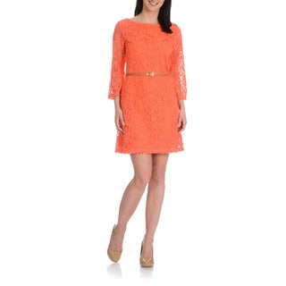 Sharagano Women's Novelty Scroll Lace Belted Dress