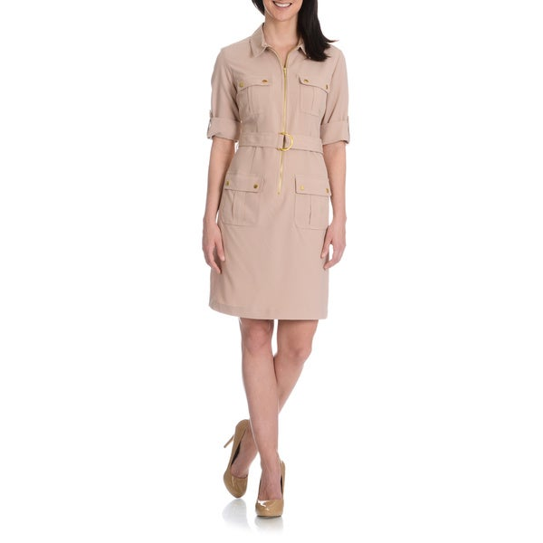 Sharagano Women's Cargo Pocket Shirt Dress