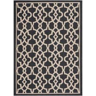 Safavieh Indoor/Outdoor Courtyard Black/ Beige Rug (4' x 5'7)