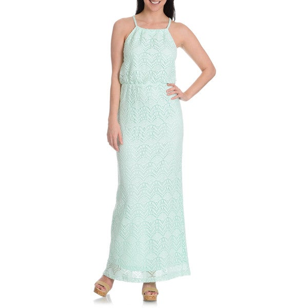 Sharagano Women's Lace Blouson Halter Maxi Dress
