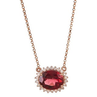 Anika and August 14k Rose Gold Oval-cut Rhodolite and Diamond Accent Necklace