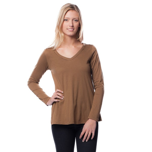 AtoZ Women's Long Sleeve V-Neck Cotton Tee