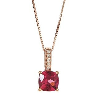 Anika and August 14k Rose Gold Oval-Cut Rodholite and Diamond Accent Pendant