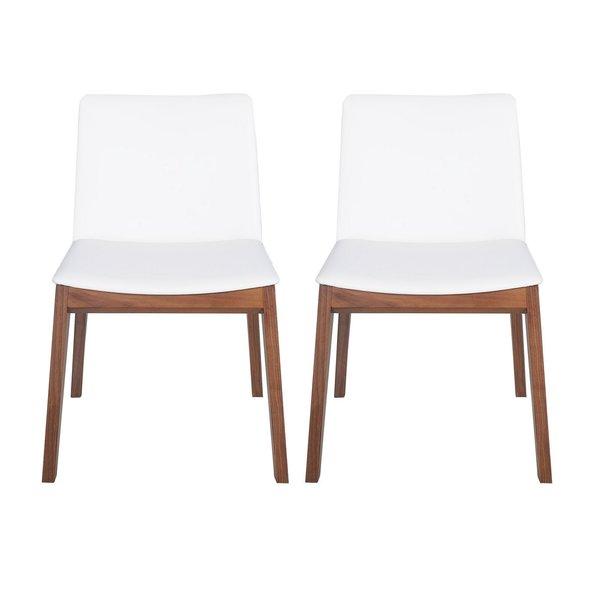Mia White Walnut Wood Dining Chair (Set Of 2)