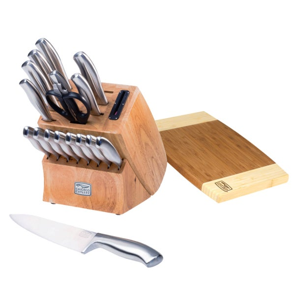 Chicago Cutlery 19-Piece Insignia Steel Knife Block with In-Block Sharpener and Cutting Board