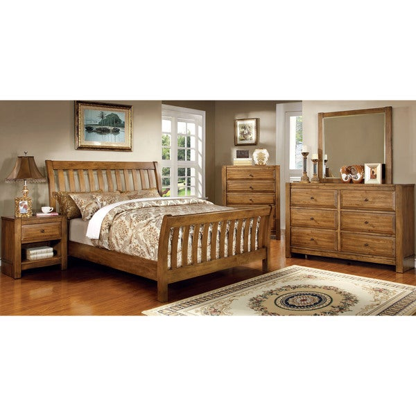 Furniture of america dimare country style 4 piece rustic for Country bedroom furniture