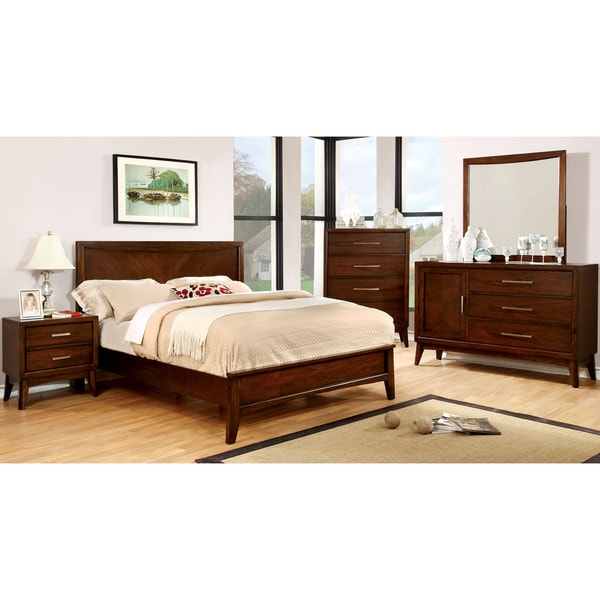 Furniture Of America Kasten Modern 4 Piece Brown Cherry Bedroom Set