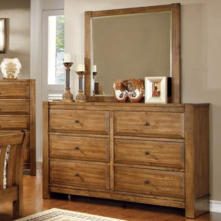 Furniture of America Dimare Country Style 2-piece Dresser and Mirror Set