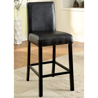 Furniture of America Dymen Brown Crocodile Leatherette Counter Height Chair (Set of 2)