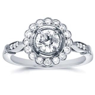 Annello 14k White Gold 3/4ct TDW Floral Antique Diamond Ring (G-H, I1-I2)