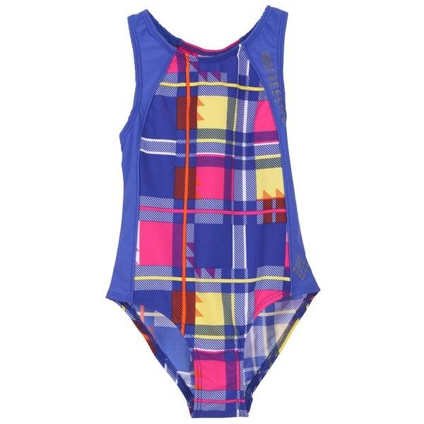 Big Chill Girls' UV Protection Plaid Swimsuit Swimwear