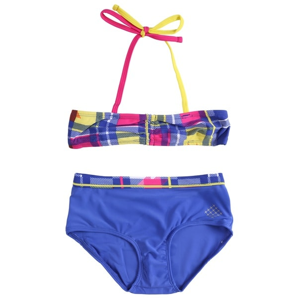 Big Chill Girls' UV Protection Plaid Two-piece Bikini Swimwear Set