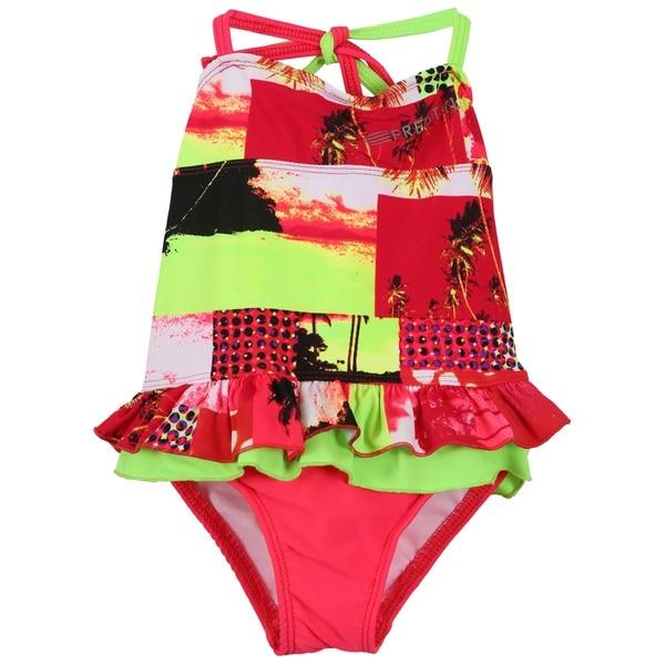 Big Chill Girls' UV Protection Freestyle Logo Swimsuit Swimwear