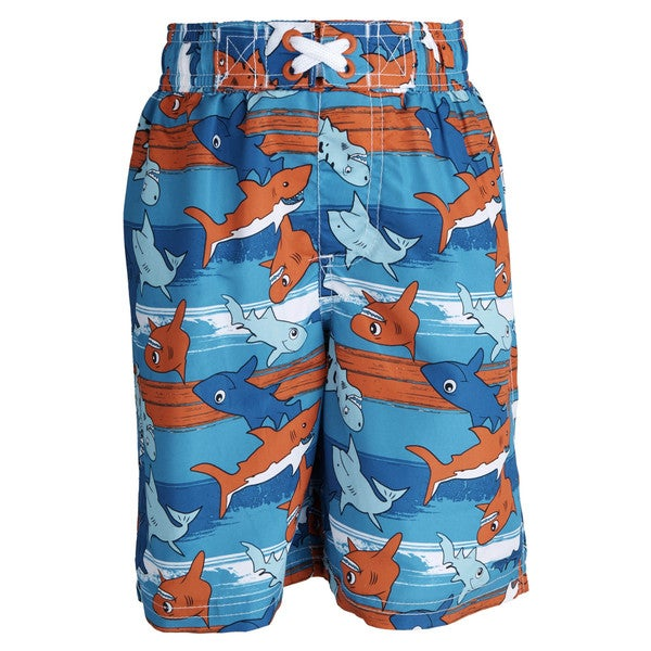 Ixtreme Little Boys' UV Protection Shark Printed Mesh Insert Swim Trunk