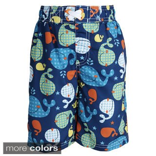 Ixtreme Baby Boys' UV Protection Whale Printed Mesh Insert Swim Trunk