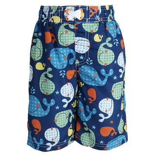 Ixtreme Little Boys' UV Protection Whale Printed Mesh Insert Swim Trunk