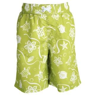Ixtreme Little Boys' UV Protection Turtle Printed Mesh Insert Swim Trunk