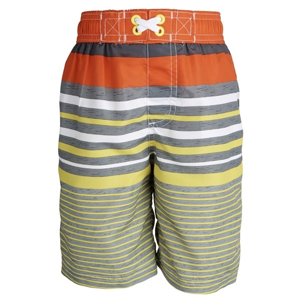 Ixtreme Little Boys' UV Protection Stripe Printed Mesh Insert Swim Trunk