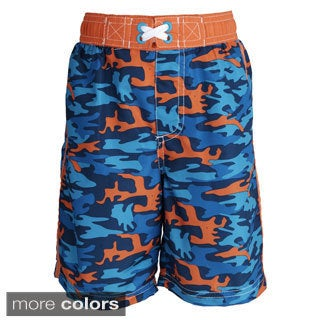 Ixtreme Little Boys' UV Protection Camo Printed Mesh Insert Swim Trunk