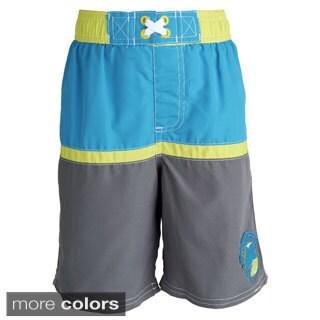 Ixtreme Little Boys' UV Protection Colorblock Printed Mesh Insert Swim Trunk
