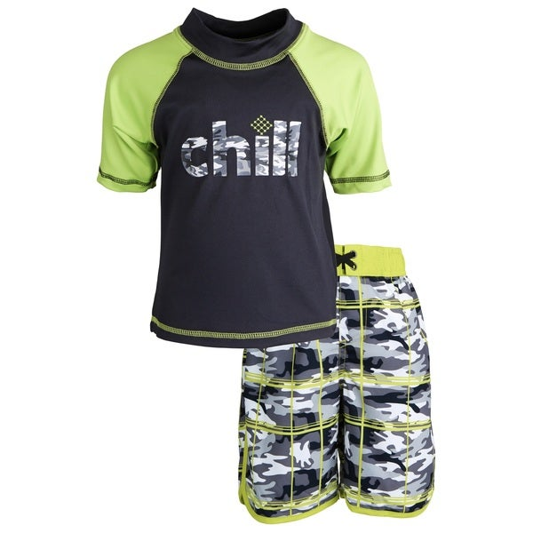 Big Chill Little Boys' Sunblock Camo Short Sleeve Rash Guard Shirt and Swim Trunk Set