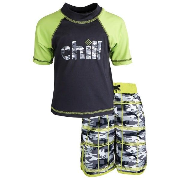 Big Chill Little Boys' Sunblock Camo Short Sleeve Rash Guard Shirt and Swim Trunk Set