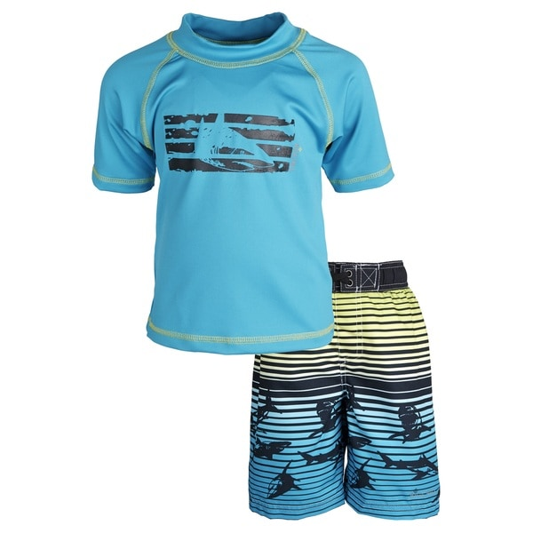 Big Chill Little Boys' Sunblock Shark Short Sleeve Rash Guard Shirt and Swim Trunk Set