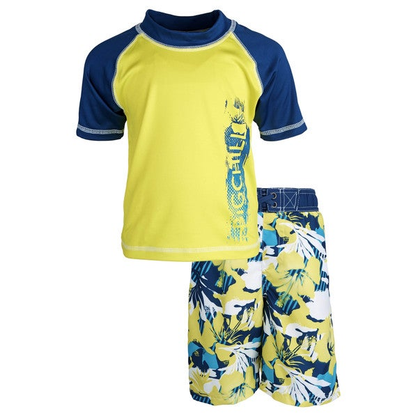 Big Chill Little Boys' Sunblock Floral Short Sleeve Rash Guard Shirt and Swim Trunk Set