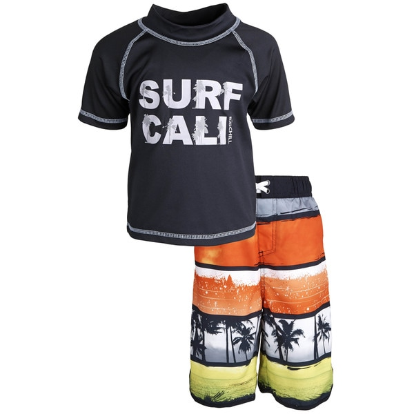 Big Chill Little Boys' Sunblock Tree Short Sleeve Rash Guard Shirt and Swim Trunk Set