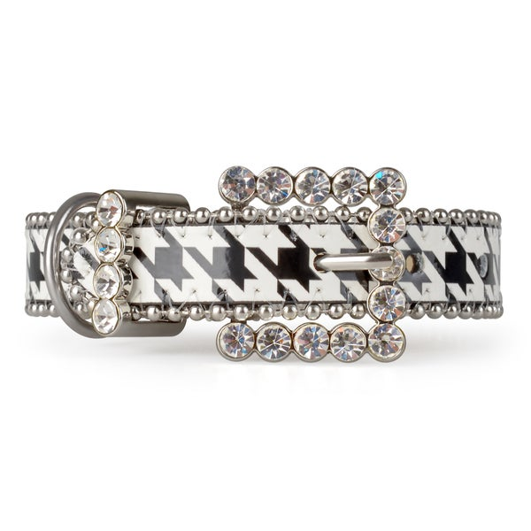 Journee Pet Rhinestone Leather Houndstooth Dog Collar