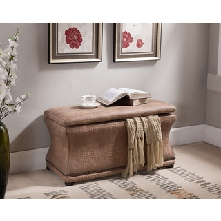 K & B Crackle Brown Storage Bench Crackle