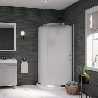 Ove Decors Breeze 36 Shower Enclosure Kit with Paris Base, Walls, Glass and Door