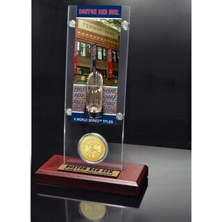 Boston Red Sox World Series Ticket and Bronze Coin Acrylic Desktop Collectible